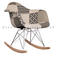 charles ray eames style fabric rar rocking chair white black