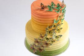 Edible Cake Decorating Paper Caramel Ombre Cake With Edible Wafer Paper Butterflies Tutorial