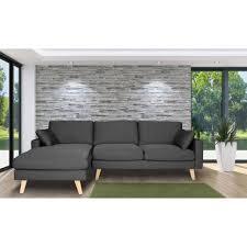 garnissage canapé canapé d angle en tissu 4 places avec coussins et piètement bois