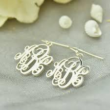 Monogrammed Earrings Aliexpress Com Buy Sterling Silver Vine Monogram Earrings