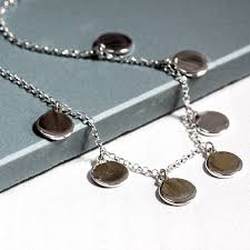 sterling silver drop necklace images Sterling silver disc drop necklace by the jewellery boutique jpg