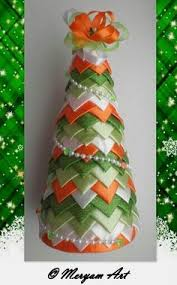quilted ornament stripe ribbon tree decor