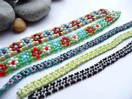 beading bracelet patterns images Beaded flower daisy bracelets georgia p designs jpg