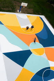 gue turns a basketball court in italy into a labyrinth of lines