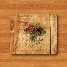 Vintage Desk Pad Flower Floral Vintage Watercolor Drawing Rose Mouse Pad Butterfly