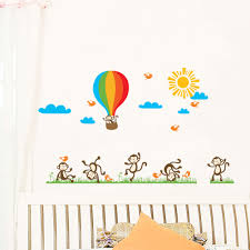 cheeky monkeys playing with hot air balloon large monkey wall sticker