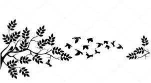 tree silhouette with birds flying stock vector starlight789