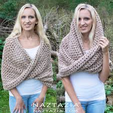 crochet wrap mobius shawl wrap and hooded cowl by donna wolfe from naztazia
