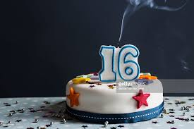 iced cake with smoking melted happy birthday candles stock photo