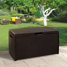 rattan effect plastic garden storage box departments diy at b u0026q