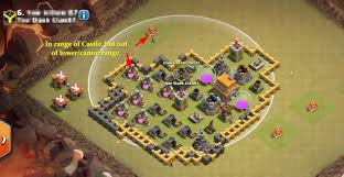how to draw out troops when clan castle is in middle of base arqade