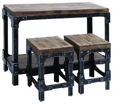 metal bar table set awesome bistro pub table distressed wood and metal 3 piece console