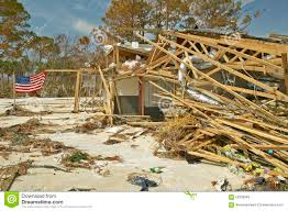 Pensacola Flag American Flag Waves In Wind With Debris In Front Of House Heavily