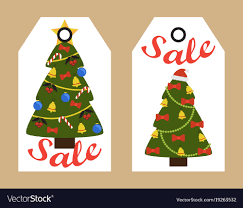 sale decorative tags with new year decorated trees