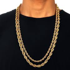 mens chains necklace images 6mm 20 39 39 18k yellow gold plated twisted wrest rope chain necklace jpg