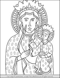 our lady of czestochowa coloring page thecatholickid com