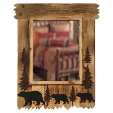 Log Cabin Bathroom Accessories by Wood Black Bear Mirror
