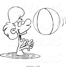 vector of a cartoon boy playing with a beach ball in the water