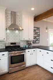 White Tile Backsplash Kitchen Appliances Farmhouse Kitchen With Gloss Subway Tile Backsplash