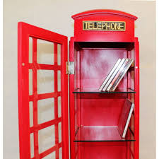 Red Phone Booth Cabinet Red Wooden Storage Cabinet Dvd Cd Tower Bookcase Book Rack Display