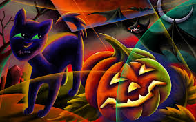 halloween cat background trick treat halloween background holidays wallpaper 10541