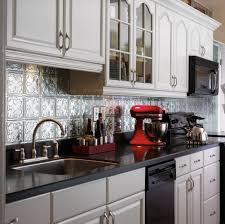 elegant kitchen style ideas with silver metallaire backsplash tin