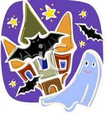 pictures of cartoon haunted houses of a ghost and bats flying around a haunted house royalty free