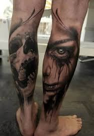 skull and portrait tattoo calf ideas tattoo designs