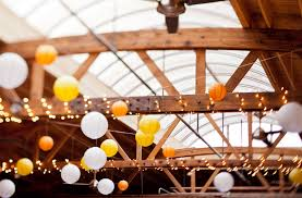 hanging paper lantern lights indoor home decor wood beams with string lights and paper lantern lights