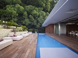 backyard rattan patio with swimming pool design in the small yard