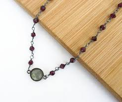 silver necklace with gemstone images Labradorite red garnet sterling silver necklace michelle smith jpg