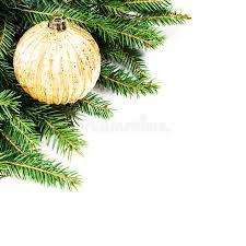 fir tree border with festive ornaments isolated on wh