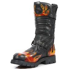 red motorbike boots black new rock motorcycle boots with red flames m 7603 c1