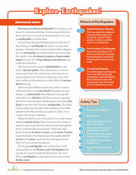 earthquake science worksheet education com