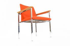 sigvard bernadotte danish modern oak chrome lounge chair mid