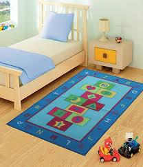 funky buys kids childrens blue hopscotch 100 x 133cm rug mat