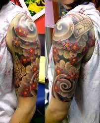 floral tattoo quarter sleeve japanese flowers sleeve tattoo