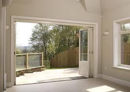 Wooden Bifold Patio Doors Timber Bifold Doors Fully Open White Patio Doors