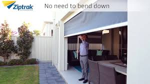 Track Guided Outdoor Blinds All Weather Blinds Ziptrack Blinds U0027 Optional Pull Stick Youtube