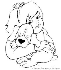 hugging a puppy color page