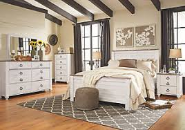 White Washed Bedroom Furniture Willowton Panel Bed Furniture Homestore