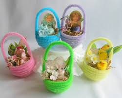 chenille easter set of five tiny chenille easter baskets as ornaments for easter
