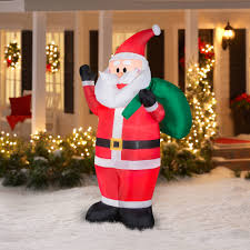 Christmas Yard Decorations Gemmy Airblown Christmas Inflatables 7 U0027 Waving Santa Walmart Com