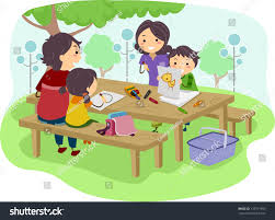 illustration family kids drawing while having stock vector