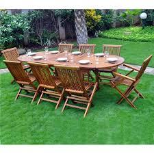 mobilier de jardin en solde ensemble en teck de jardin bois huilé 8 10 places
