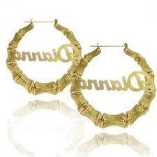 hoop earrings with name k gold plated large bamboo name hoop earrings ksvhs jewellery