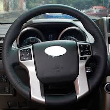 amazon com black genuine leather steering wheel cover for 2012