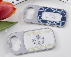 personalized bottle opener favor nautical wedding themed bottle opener with epoxy dome available