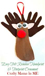 easy felt reindeer handprint and footprint ornament crafty