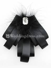 black satin ribbon satin ribbon feather brooch pin with rhinestone wb023